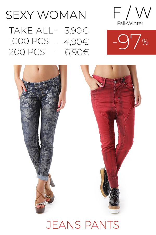 Stock Donna Jeans Pantaloni Sexy Woman F/W