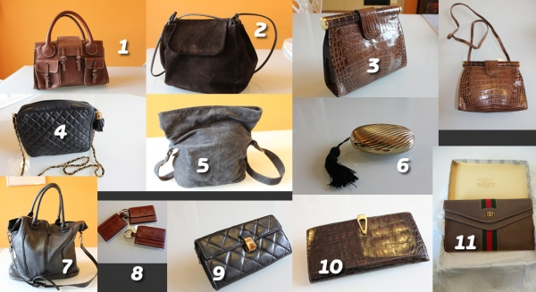 Lotto borse e portafogli vintage vera pelle, vari brand